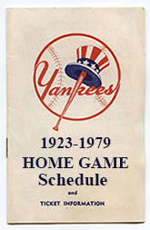 1923-1979 Yankees Home Game Schedule